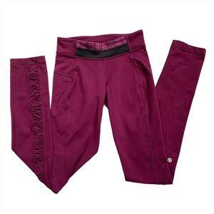 Lululemon Ruched Full Length Leggings Purple Sz 4